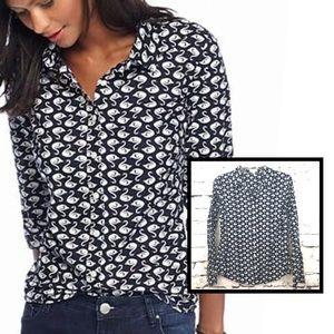 Swan Print Button Down, Small, Crown & Ivy Shirt